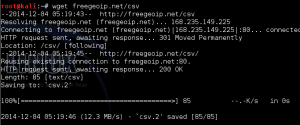 Freegeoip.net from wget
